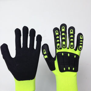 Sandy Nitrile Coated High Elastic Poly Safety Gloves with TPR Sewing pictures & photos