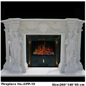 Stone Figure Fireplace Electric Fireplace Mantel Carved by Marble (YKFP-19)
