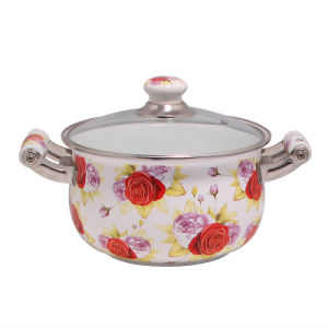 Good Quality Colour Enamel Coating Sauce Pan with Glass Lid pictures & photos