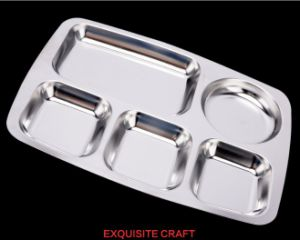 Stainless Steel Fast Lunch Tray with Five Divisions (CS-017)