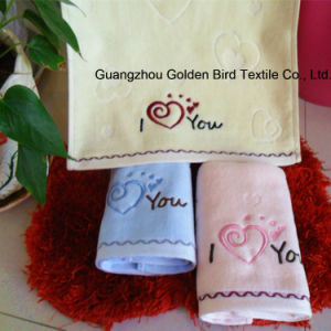 100% Cotton Plain Dyed Velour Towel with Love Embroidery