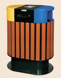 Eco-Friendly Wooden Outdoor Rubbish Barrel (GPX-52A) pictures & photos