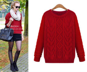 Lady Fashion Acrylic Knitted Long Sleeve Sweater (YKY2013) pictures & photos