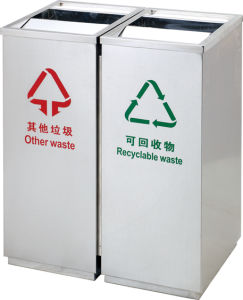 Stainless Steel Subway Garbage Bin with Two Flip (HW-93) pictures & photos
