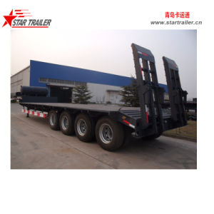 80t 4 Axle Lowbed Semi Trailer pictures & photos