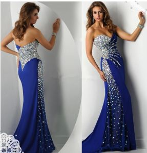 Shinny Blue Party Pageant Evening Gowns Strapless Crystal Stones Prom Dresses Ep2015 pictures & photos