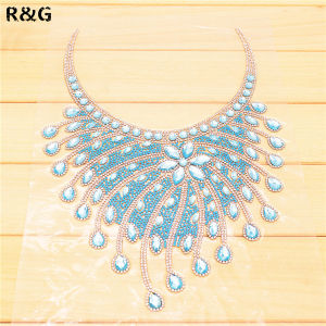 Customized Hand-Made Women Hot Fix Crystal Rhinestones Collar for Decoration