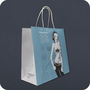 Custom Printed Kraft Paper Shopping Bag with Twist Handle pictures & photos