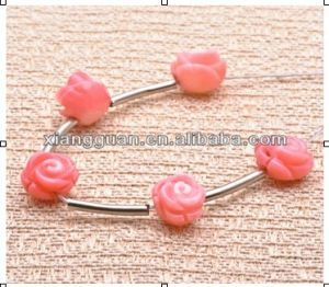Xg-Yk 122 Natural Pink Coral Carved Rose Bead for Bangle