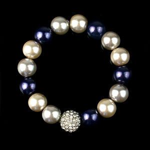 Fashion Shambhala Glass Pearl Stretch Jewelry Bracelet