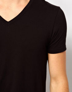 Custom Men′s Black Plain V Neck Tee Shirts pictures & photos
