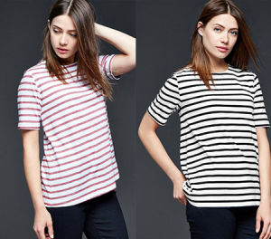 2016 Pattern Short Sleeve Round Neck Women Striped T-Shirt pictures & photos
