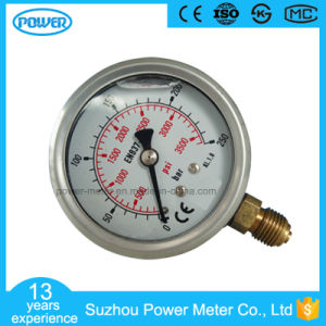 63mm Half Stainless Steel Bottom Thread Type Liquid Filled Pressure Gauge pictures & photos