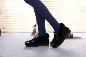 Sheepskin Women Shoes in Black for Winter pictures & photos