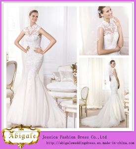 Brand Name Elegant Floor Length High Collar Lace Top See Through Mermaid Wedding Dress China (JS0819)