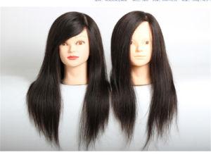 60cm Human Hair Training Head Mannequin Hairdressing Head Dummy Head