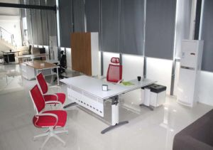 Special Style Manager Table with Leather Cushion Mobile Pedestal (OWDK2704-16) pictures & photos