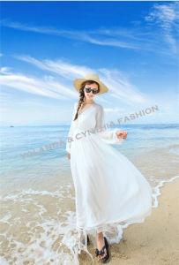 Fashion Printed Pure White Chiffon Long Dress/Long Sleeves