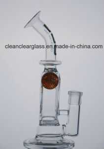 Ccg Self-Branded New Glass Water Pipe Smoking Pipe with Honeycomb Perc and 2 Flowers Marbles pictures & photos
