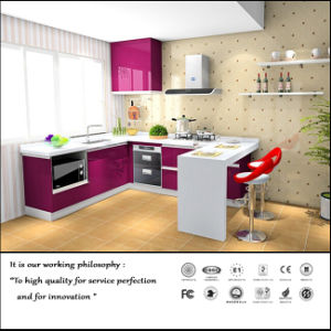 Modern UV High Glossy Kitchen Cabinet (ZH091) pictures & photos