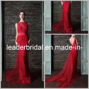 Sheer Lace Evening Dress V-Back Sleeveless Sheath Wedding Party Dress E13231 pictures & photos