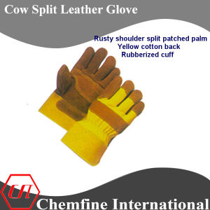 Rusty Shoulder Split Patched Palm, Yellow Cotton Back, Rubberized Cuff Leather Work Gloves pictures & photos