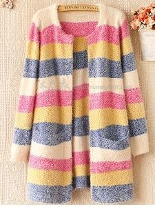 Stripe Cardigan Sweater Mohair Sweater Coat (BTQ026) pictures & photos