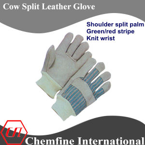 Shoulder Split Palm, Green/Red Stripe, Knit Wrist Leather Work Gloves pictures & photos