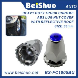 33mm Heavy Truck Chrome ABS Decorative Cover Wheel Trim Flange Style Lug Nut Cover Purple Reflectors pictures & photos