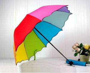 3 Fold Rainbow Umbrella with Flouncing (LGUD14035)