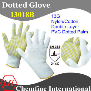 13G White Nylon/Cotton Double Layer Knitted Glove with Yellow PVC Dots/ En388: 214X pictures & photos
