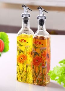 Glass Bottle of Glassware Sunflower Decal Glass Jar 3sets pictures & photos