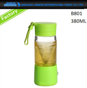 BPA-Free Glass Water Bottle with Flip Cap & Customized Silicone Sleeve pictures & photos