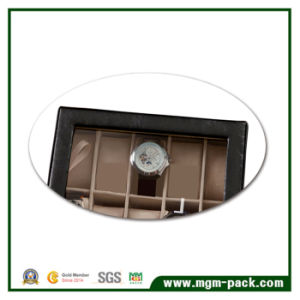 Custom Black Luxury PU Leather Wooden Watch Box pictures & photos