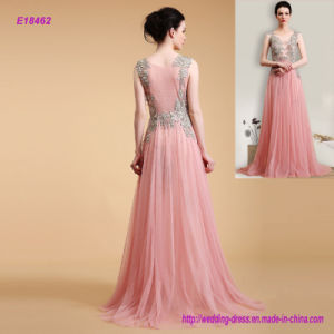 China Factory Direct Graceful Sleeveless Embroidered A Line Evening Dress pictures & photos