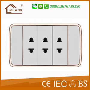 Top Selling Energy Saving 15A German Round Pin Wall Socket pictures & photos