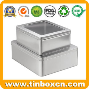 OEM Customized Square Metal Tin Box with PVC Clear Window pictures & photos
