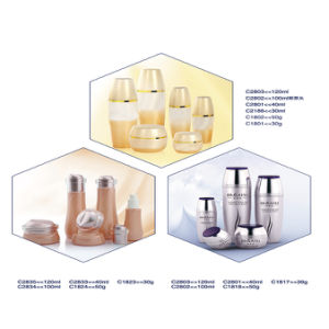 Printed Recycled Packaging Glass Spray Bottle Cosmetic Sets with Pumps pictures & photos