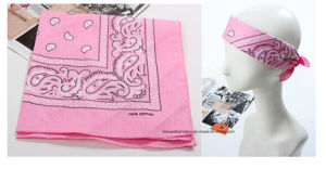 Factory Produce Customized Pink Paisley Cotton Headwear Bandana pictures & photos