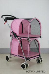 Double Layer 4 Wheels Dog Outdoor Carrier Pet Strollers pictures & photos