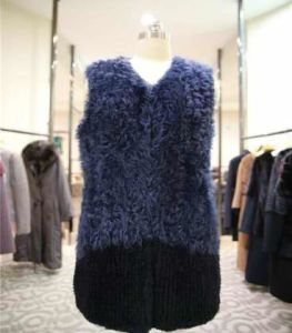 Women′s Blue Fur Vest with V-Neck Customization Is Accepted pictures & photos