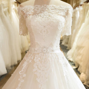 Charming A-Line Short Sleeve Tulle Lace Appliques Wedding Dress 2017 pictures & photos