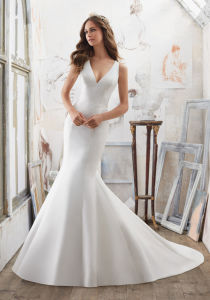 2017 Satin Deep-V Bridal Wedding Dresses Wd506 pictures & photos