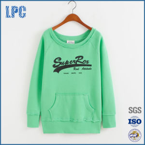 100%Cotton Green Flocking Printing Without Hood Women Sweatshirt pictures & photos