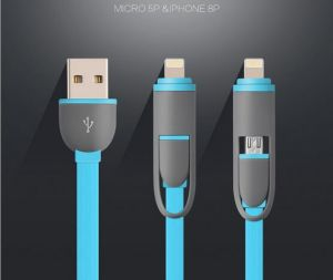 Factory Wholesale 2 in 1 Digital Data Cable Auto Data Link Cable Convenient Data Cable for Mobile Phone pictures & photos