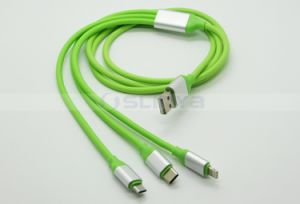 High-End 3 in 1 USB Cable Charger Data Micro 8 Pin Lightning Type-C Mobile Phone USB Flat Cable for iPhone 8 7 Plus 6s Samsung S8 Nokia MacBook Oppo pictures & photos