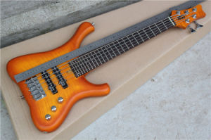 Hanhai Music/Orange 5 Strings Electric Bass with Neck Through Body pictures & photos