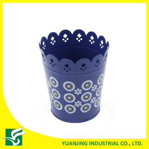 Blue Home Garden Metal Carved Flower Pot