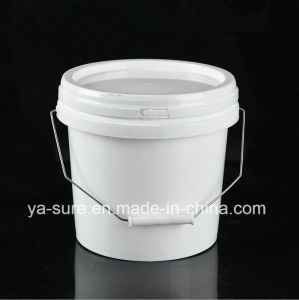 4L Round Plastic Packaging Bucket with Metal Handle