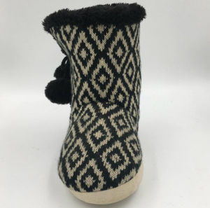 Lds Winter Indoor Knit Boots with Pompom